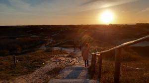 Zonsondergang tijdens het wandelen